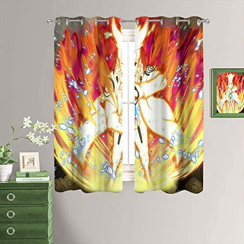 MRFSY Cortinas opacas con estampado de anime Naruto, diseño impreso, reducción de ruido, aislamiento térmico, cortinas para ventana para dormitorio W72 xL72