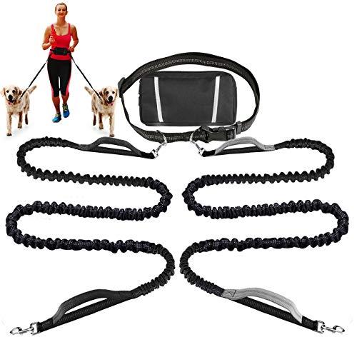 Fully Hands Free Dog Walking Belt Ajustable Leash Pet Running Jogging Waist-Belt for Handy Bottle Blue