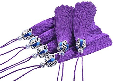 KONMAY - 10 borlas para manualidades de 8,5 cm con tapas de plata envejecida huecas y lazos para colgar para hacer joyas, diseños de manualidades, decoraciones morado