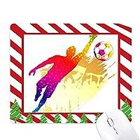 サッカーのフットボール・ゴールキーパー・ブロック ゴムクリスマスキャンディマウスパッド
