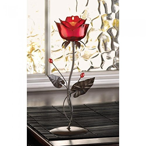 Candles Romantic Rose Votive Holder Love Ruby Red Glass Iron Flower Table Desk Room Candle Light