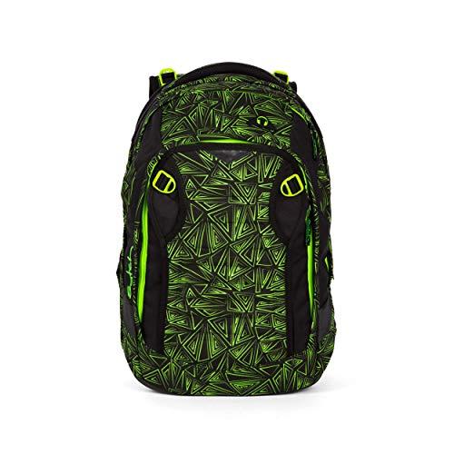 satch Match, Green Bermuda ergonomischer Schulrucksack, erweiterbar auf 35 Liter, extra Fronttasche