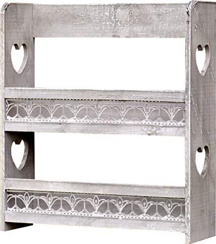 amadeco Gewürzregal Tassenregal Küchenregal mit viel Herz - Regal für Gewürze oder Tassen - Landhaus Shabby Chic Vintage Stil - Grau