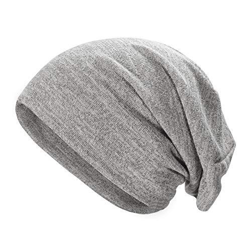 ZLYC Soft Slouchy Beanie Hat for Women Men Fashion Thin Knit Stretch Skull Cap (Plain Gray)