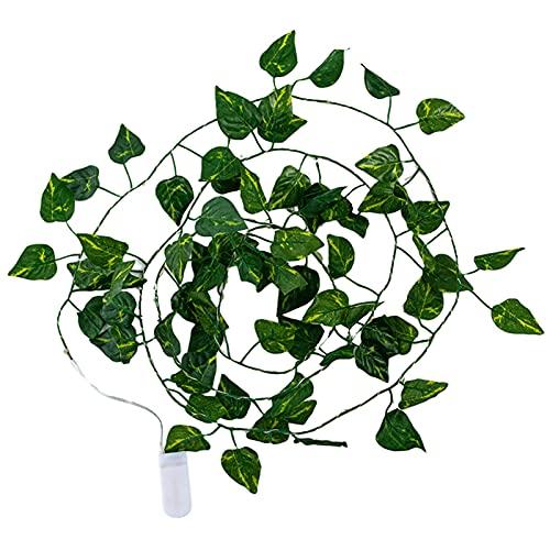 Qagazine Guirnalda de luces artificiales con 25 luces de simulación de hojas verdes, ratán, decoración para colgar en el hogar, dormitorio, boda, fiesta, decoración, 2,2 m