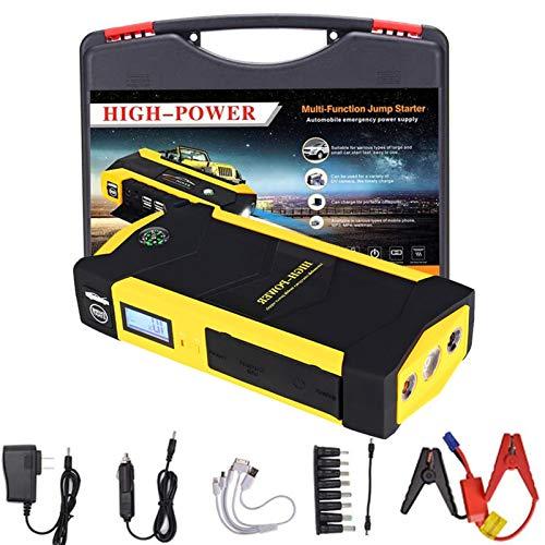 TAOSE Arrancador de Coches 828000mAh 800A Arrancador de Baterias de Coche para 6.0L Gasolina o 5.0L Diesel de IP68 Impermeable Carga Rápida Linterna LED con 3 Modos DCYellow