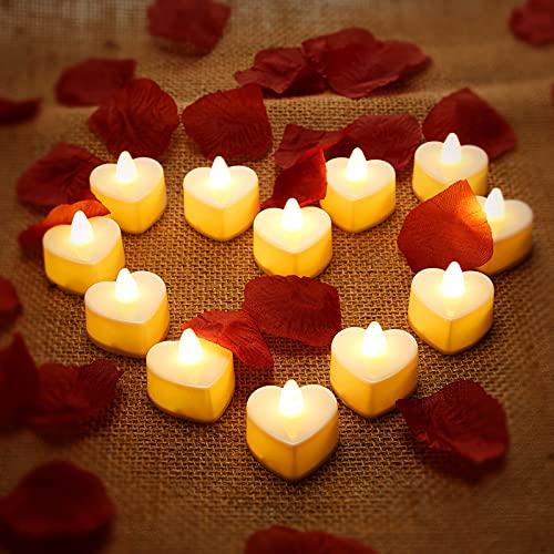 12 Pièces Bougies Chauffe-Plat LED en Forme de Coeur Bougies LED Amour Romantique avec 200 Pièces Pétales de Rose en Soie Pétales de Fleurs Artificielles pour Décor de Table de la Saint-Valentin
