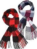 2 Pieces Plaid Check Warm Women Blanket Scarf Cozy Plaid Winter Scarf Wrap Shawl (Red Black, Red Gray)