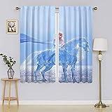 Frozen 2 cortinas con ojales Elsa y Nokk, cortinas para oscurecer la habitación mantienen el calor cortinas cortinas para ventanas Set para dormitorio de 132 x 163 cm
