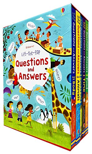 Usborne Lift The Flap Questions & Answers 5 Books Box Set (Body, Animals, Dinosaurs, Time & Food)