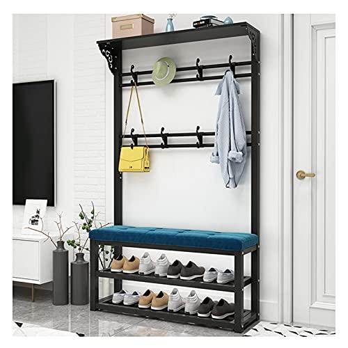 QIANGU Perchero Metálico De Pie con Asiento Acolchado Estante para Zapatos Y Colgador De Ropa para Entrada Muy Adecuado para Dormitorio Sala De Estar Oficina (Color : A, Size : 100CM)