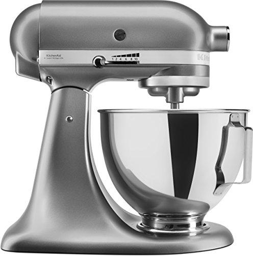 KitchenAid 5KSM95PSECU Keukenmachine, 4,3 l, spatbescherming, 300 watt, platte mixer, deeghaak en garde, zilver