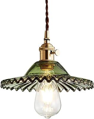 LFsem Semplice Lampada a Sospensione Vintage in Ottone con Vetro Lampada a Soffitto E27 Loft per Camera da letto Ristorante Cafe (Verde)