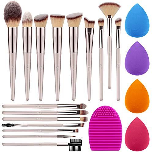Syntus Makeup Brush Set 16 Makeup Brushes amp 4 Blender Sponges amp 1 Brush Cleaner Premium Synthetic Foundation Powder Kabuki Blush Concealer Eye Shadow Makeup Brush Kit Champagne Gold