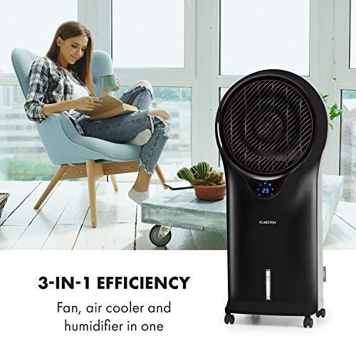 Klarstein Whirlwind - 3-in-1 Luftkühler, 3-in-1: Luftkühler/Ventilator/Luftbefeuchter, Luftumwälzung: 1600 m³/h, Wassertank: 5,5 Liter, Oszillation, 3 Geschwindigkeiten, schwarz