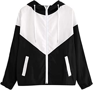 CCOOfhhc Women's Casual Coat Color Block Drawstring Hooded Windbreaker Jacket Zip Long Sleeves Sport Gym Coats with Pockets
