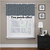 Cortinas de ventana abstractas, rayas diagonales y estrellas impresas, tela de cenefa lisa y sustancial, 137 x 45 cm