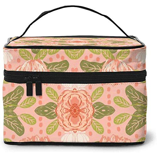 Blush Flowers Coral Sweet Flowers Portable Ladies Travel Cosmetic Case Bag Storage Makeup Pouch Multi-Function Large Capacity