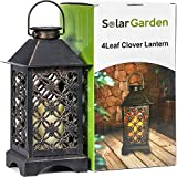 Solar Lantern Indoor or Outdoor 4Leaf Clover Bronze − Antique Metal Construction − Solar Powered Hanging Lantern or Tabletop with LED Flickering Candle 5.5 x 5.5 x 11 inches