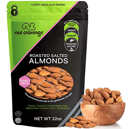 Roasted & Salted Almonds - Whole, No Shell (32oz - 2 Pound) Packed Fresh in Resealable Bag - Nut Trail Mix Snack - Healthy Protein Food, All Natural, Keto Friendly, Vegan, Kosher