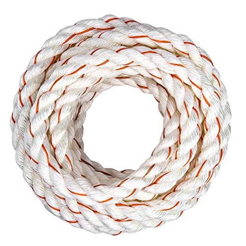 SGT KNOTS - Cuerda trenzada de 3 hilos PolyDac / Combo; varios tamaños y longitudes, Blanco