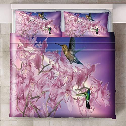 CQIIKJ Juego de Cama Impreso en 3D,Púrpura Rosa Verde Flor Animal colibrí Funda de edredón de Microfibra con Cierre de Cremallera, 2 Fundas de Almohada260x220cm