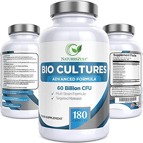 Natures Zest 60 Billion CFU Bio Cultures Probiotics with Prebiotics 180 Capsules...