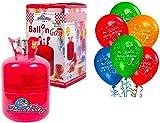 Bombola gas elio per 50 palloncini + 50 palloncini buon compleanno OMAGGIO