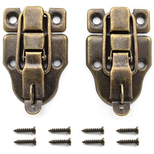 SDTC Tech 2-Pack Retro Bronze Style Box Toggle Latch Antique Metal Duckbilled Hasp Latch Catch with Padlock Hole for Jewelry Box Cabinet Small Wooden Case Ordinary Box Crafts