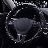 Super PDR Steeing Wheel Cover for Women,Leather Bling Cute Car Steering Wheel Cover Universal 15inch with Crystal Diamond (Black)