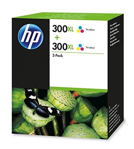 HP 300XL 2-Pack Tri-Color - Cartucho de Tinta para impresoras (Cian, Magenta, Amarillo, Inyección de Tinta)