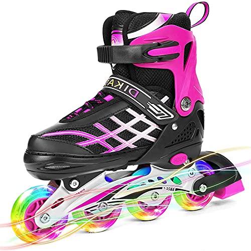 XINAYUEJP Inline Skates für Kinder Teenager, Verstellbare Rollschuhe mit Allen Beleuchteten Rädern, ABEC 7 Lager Beleuchteten Outdoor- und Indoor-Rollschuhen für Jungen, Mädchen, Anfänger