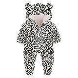 Kids4ever Baby Schneeanzüge Winter Overall mit Kapuze Lustig 3D Leopard Druck Fleece Strampler 0-3 Monate Mädchen Jungen Footed Jumpsuit Onesies