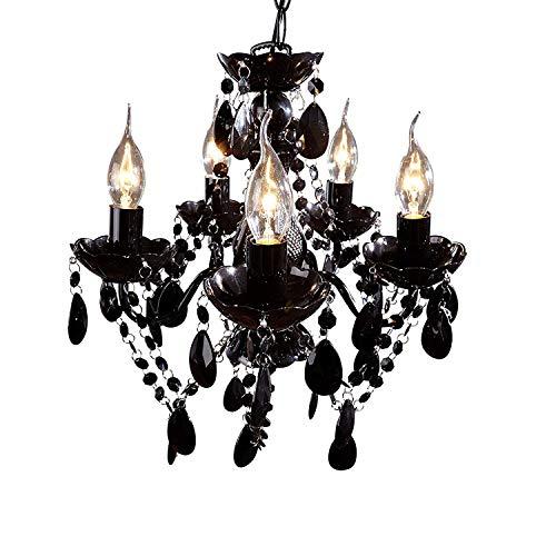 DuNord Design Candelabros 36230lámpara de araña 5brazos negro Rock barroco