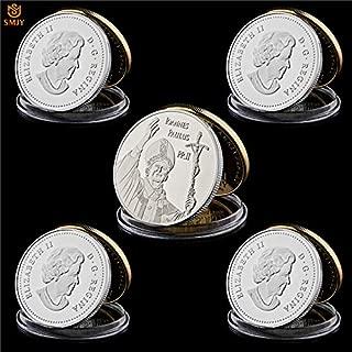 Momoso_store 5Pcs 2014 Queen Elizabeth II Italy Vatican City Catholic Ioannes Paulus PP. II Silver Plated Metal Commemorative Coins, Replica Toys