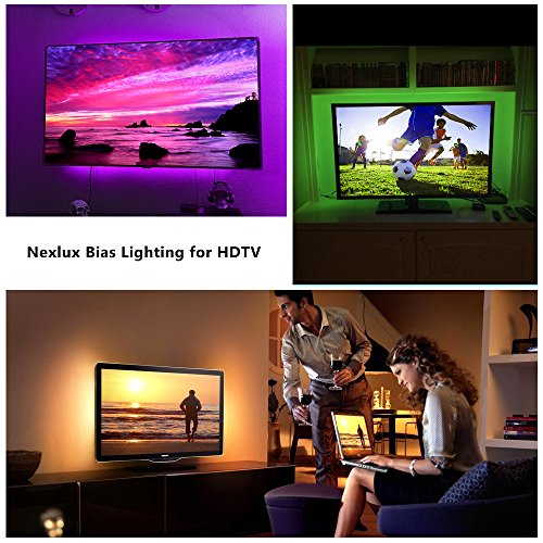 TV backlight , Nexlux LED TV Lights USB Kit 5050 RGB Multicolor Back Lightings Strip with 44-key IR Remote Controller for 46inch~60inch HDTV PC Monitor Home Theater Decoration