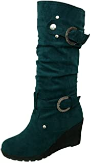 $29 » FengGa Women's Winter Flat Shoe Round Toe Thicken Wedges Ladies Long Tube Slim Boots