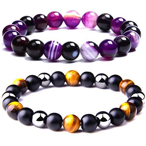 Lilloubella Conjunto de 2 Pulseras Piedras naturales Triple protección Púrpura Fluorita Hematita Negro Obsidiana Ojo de tigre Perla Joyas naturales para hombre y mujer