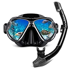 Collapsible SNORKEL: This 100% dry snorkel is ergonomically designed and uses the floating cleaning and sealing valves. You can snorkel confidently, even if you dive underwater, you will not get saltwater in your mouth! Unlike traditional snorkels, o...