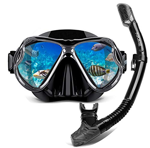 POPCHOSE Snorkel Set Silicone Snorkeling mask Set for Adults and Youth, Foldable Dry Top Snorkel Anti-Leak Anti-Fog Adjustable Diving Mask Gear Mesh Bag for Snorkeling, Diving, Swimming