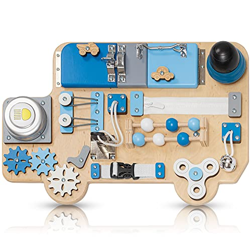 Toddler Busy Board Car for 1 2 3 Year Old - Wooden Handmade Baby Sensory Activity Boards with Keys, Lock, Latches, Fidget Spinner, Buckle - Travel Plane Montessori Toys (Blue)