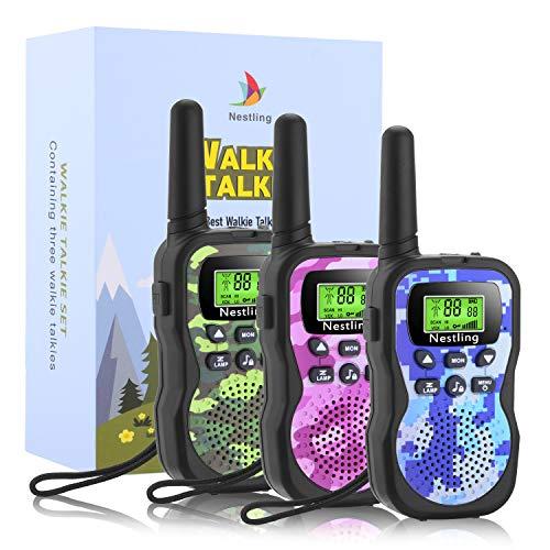 Nestling Talkie Walkie - Linterna para niños (8 Canales, Pantalla LCD, función VOX, 10 tonalidades de Llamada, Cierre de Canales, Regalo para los niños (Camuflaje, Paquete de 3)