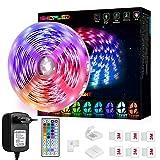 LED Strip 5m, SHOPLED Farbwechselnde LED Streifen mit IR Remote, RGB 5050 Farbänderung Flexible LED...
