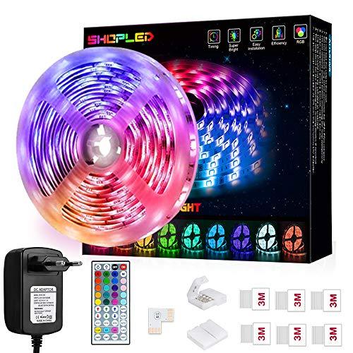LED Strip 5m, SHOPLED Farbwechselnde LED Streifen mit IR Remote, RGB 5050 Farbänderung Flexible LED Leiste für Schlafzimmer Haus Küche Computer TV Party DIY Deko Halloween...