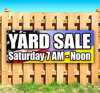 Yard Sale Saturday 13 oz Heavy Duty Vinyl Banner Sign with Metal Grommets, New, Store, Advertising, Flag, (Many Sizes Available)