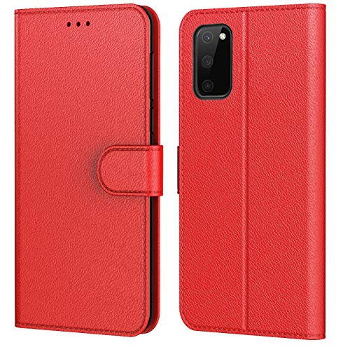 AURSTORE Hülle für Samsung Galaxy S20 FE 4G/5G Handyhülle, Premium PU Leder Schutzhülle,mehrere Farben,Tasche Flip Hülle Brieftasche Etui Schutzhülle für (Galaxy S20 FE (6,5 Zoll), Rot)