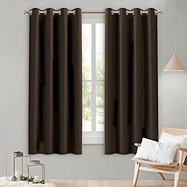 Lefeng Blackout Curtains Room Darkening Solid Thermal Insulated Grommet Black Out Window Curtain For Living Room/Bedroom 3 year warranty (2 Panels, W52 X L63 Inches, Brown)