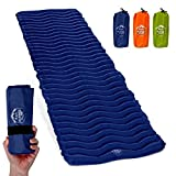Air Mat+ Camping Sleeping Pad - Ultralight 17.2 OZ - Best Inflatable Sleeping Air Mattress for Backpacking, Hiking, Traveling – Lightweight & Compact Camp Sleep Pad (Navy Blue)