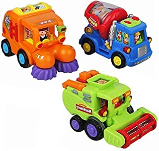 IQ Toys Friction Powered Action Vehicles Set for Kids with City Contruction Trucks- Cement Truck, Sweeper Cleaning Truck and Harvesting Truck