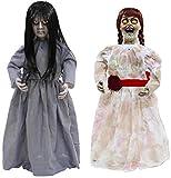 Höllische Geschwister Halloween Puppen Sad Sally und Creepy Carlotta 0,8 Meter groß Leuchtaugen...